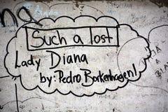 Graffitis voor om zich op 31 Augustus 1997 te herinneren Stock Fotografie
