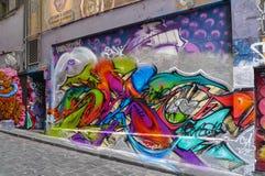 Graffitistraße in Melbourne, Australien Stockbild