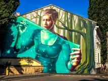 Graffitistraßenkunst in Bukarest Stockbilder