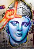 Graffitistraßenkunst durch Achilleus in Athen, Griechenland Lizenzfreies Stockfoto