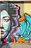 Graffitistraßenkunst durch Achilleus in Athen, Griechenland Stockfotos