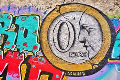 Graffitistraßenkunst durch Achilleus in Athen, Griechenland Lizenzfreie Stockbilder