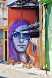 Graffitistraßenkunst durch Achilleus in Athen, Griechenland Stockbild