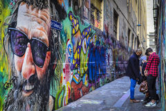 Graffitistraat Art Union Lane Melbourne CBD Royalty-vrije Stock Afbeelding