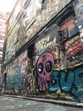Graffitistraat in Melbourne stock foto