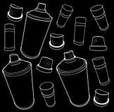 Graffitiwerkzeug-Ikonensammlung Spray-kann und Kappe auf Schwarzem Lizenzfreie Stockfotos