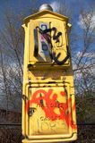 Graffitized Emergency Call Box Royalty Free Stock Photo