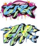 Graffito - cap. Graffito text design - cap. Color vector illustration Stock Photos