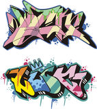 Graffito - luck. Graffito text design - luck. Color vector illustration Stock Images