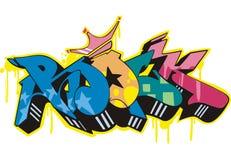 Graffito - rock. Graffito text design - rock. Color vector illustration Royalty Free Stock Photo