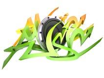 Graffito text. Design - music. 3d speaker illustration Stock Photography
