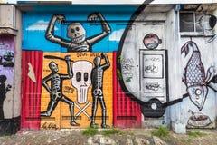 Graffitti искусства улицы графическое на внешней стене здания в Амстердаме Стоковые Фото