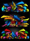 充满活力颜色graffitti集合的草图 免版税库存图片