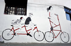 Graffitti with bicycles Royalty Free Stock Photos