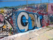 Graffitti en el muro de cemento Fotografía de archivo libre de regalías