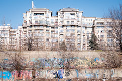 Graffitti next to apartment blocks Royalty Free Stock Image