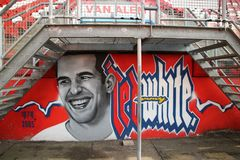 Graffitti in rememberance of David Di Tomasso, player of FC utrech. T passed away in 2005 on age 26 royalty free stock image