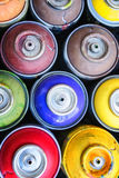 Graffitti spray cans. Close-up of colorful graffitty spray cans Stock Images