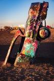 Graffitti on a stuck car royalty free stock photo