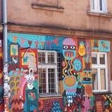 Graffitti van in Kazimierz District van Kracow vroeger het Joodse Gebied van de stad in Polen royalty-vrije stock fotografie