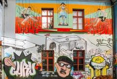 Graffitti van Matelkova in Ljubljana Stock Foto's