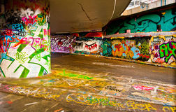 Graffitti Wall. Interesting perspective graffiti on vandalised building Royalty Free Stock Photography