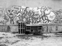 Graffity auf Stadtwand Stockbilder