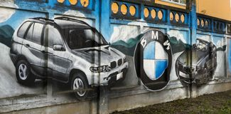BMW on the wall stock photos