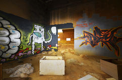 Graffity in factory hall Royalty Free Stock Images