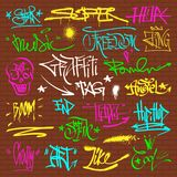 Graffity grunge color font text phrases on wall vector alphabet Royalty Free Stock Photo
