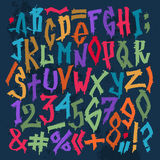 Graffity grunge color font vector alphabet Royalty Free Stock Photography