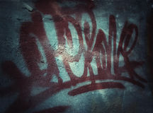 Graffity on the grunge wall Stock Image