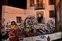Graffity of Lisboa, Portugal. Colourful graffity on the house walls of Lisboa royalty free stock images