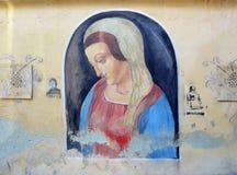 Graffity vägg som ses i Lviv Fotografering för Bildbyråer