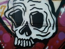 Graffity van schedel op de muurtextuur Royalty-vrije Stock Foto's