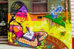 Graffity variopinto di Valparaiso della città fotografie stock libere da diritti