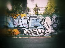 Graffity in the wall. Royalty Free Stock Photography