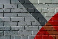 Graffitybakstenen muur, zeer klein detail Abstract stedelijk het ontwerpclose-up van de straatkunst Moderne iconische stedelijke  Royalty-vrije Stock Fotografie