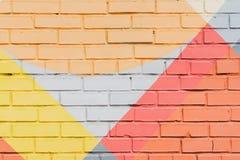 Graffitybakstenen muur, zeer klein detail Abstract stedelijk het ontwerpclose-up van de straatkunst Moderne iconische stedelijke  Royalty-vrije Stock Foto