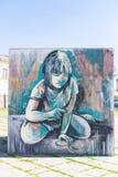 Graffti na sześcianie dziewczyna Obraz Stock