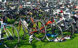 Bicycles at triathlon  change over station Royalty Free Stock Photo