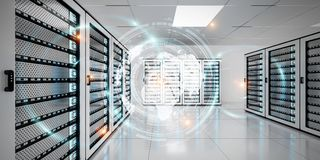 Grafhologram som flyger över serveren, hyr rum tolkningen för datorhallen 3D Fotografering för Bildbyråer