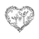 Two love birds with heart floral ornament. Love print concept. monochrome Vector EPS 10 illustration. Grafic simple drawing of a pair of lovers birds with dekor stock illustration