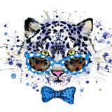 grafici bianchi della maglietta del leopardo l'illustrazione fresca del leopardo con l'acquerello della spruzzata ha strutturato  royalty illustrazione gratis
