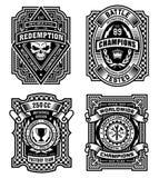 Grafici in bianco e nero decorati della maglietta dell'emblema Fotografie Stock