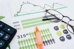 Grafici commerciali e diagrammi Fotografia Stock Libera da Diritti