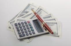 Grafici con il calcolatore, dollari di affari di soldi e Immagini Stock Libere da Diritti