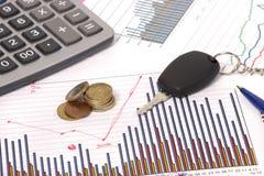 Grafici con il calcolatore e tasto e soldi dell'automobile Fotografie Stock Libere da Diritti