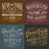Grafici d'annata degli abiti da lavoro messi Immagine Stock Libera da Diritti