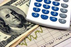 Grafici del calcolatore di piano finanziario Fotografia Stock